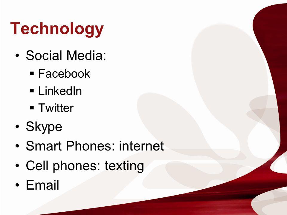 Technology Social Media: Skype Smart Phones: internet