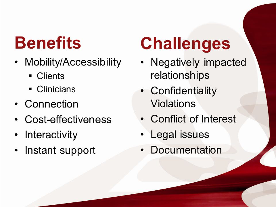 Benefits Challenges Mobility/Accessibility
