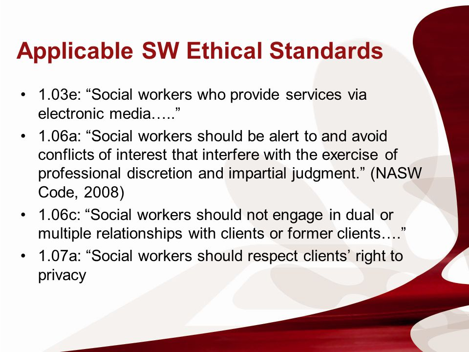 Social work code ethics dating clients