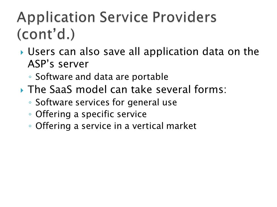 Application Service Providers (cont'd.)