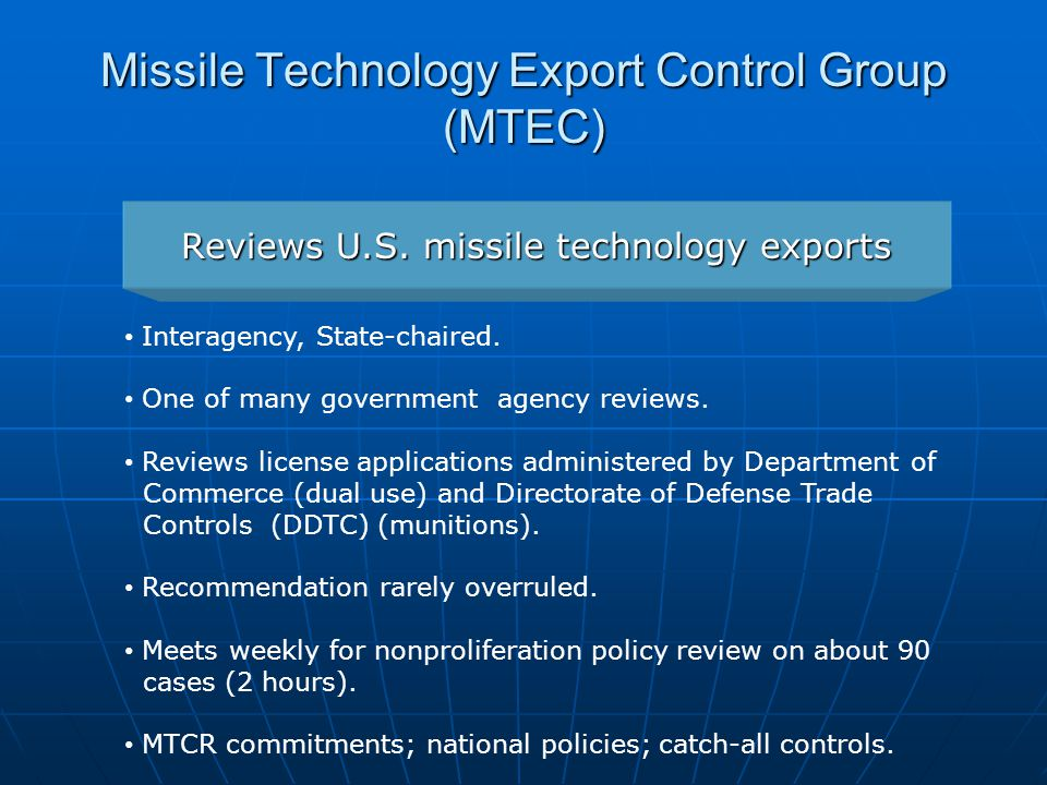Missile Technology Export Control Group (MTEC)