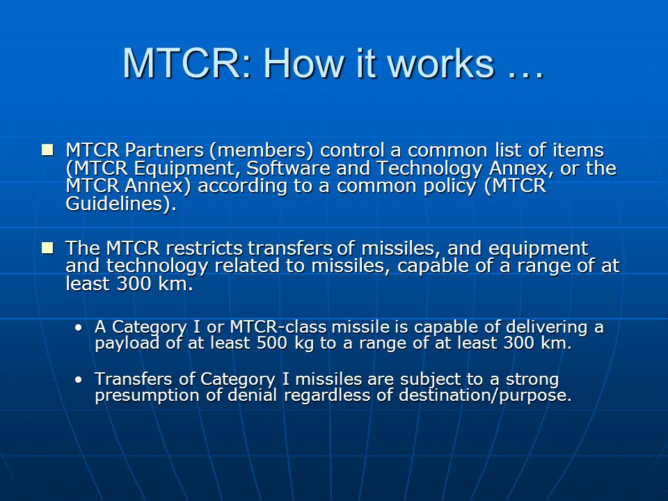 MTCR: How it works …