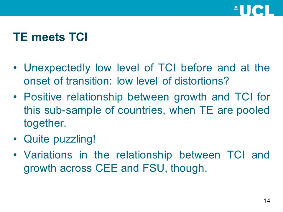 TE meets TCI Unexpectedly low level of TCI before and at the onset of transition: low level of distortions