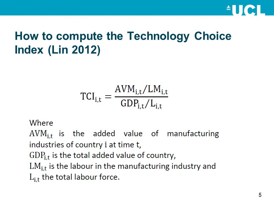 How to compute the Technology Choice Index (Lin 2012)