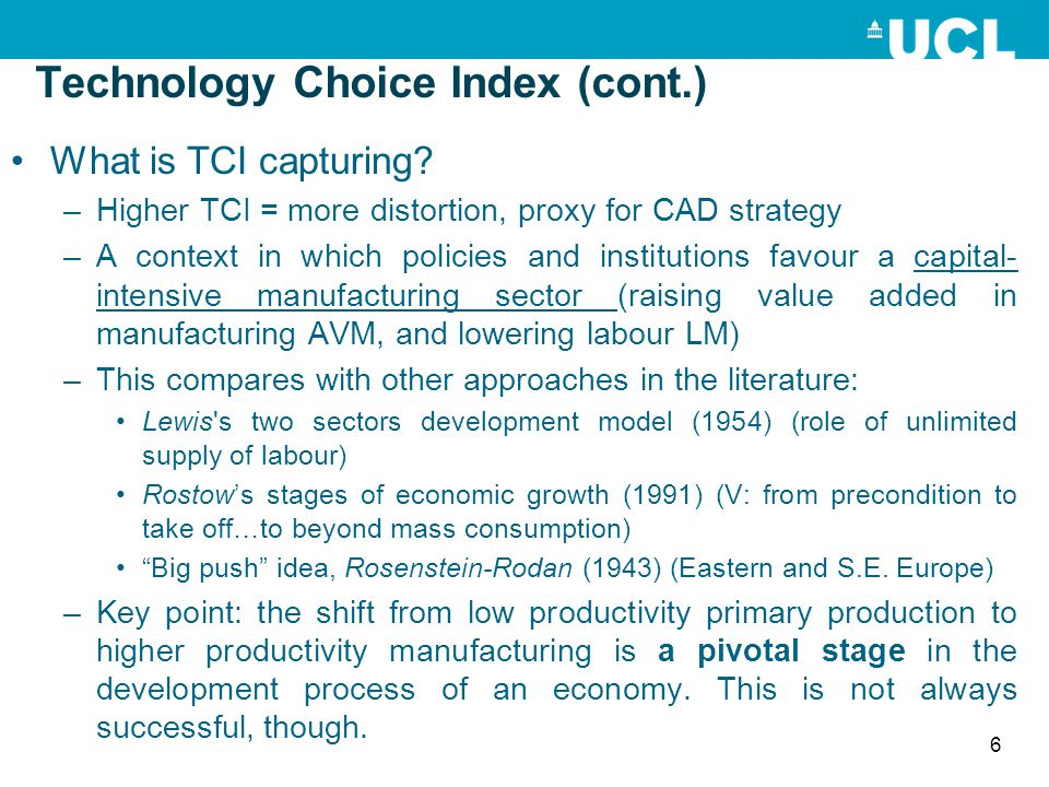 Technology Choice Index (cont.)