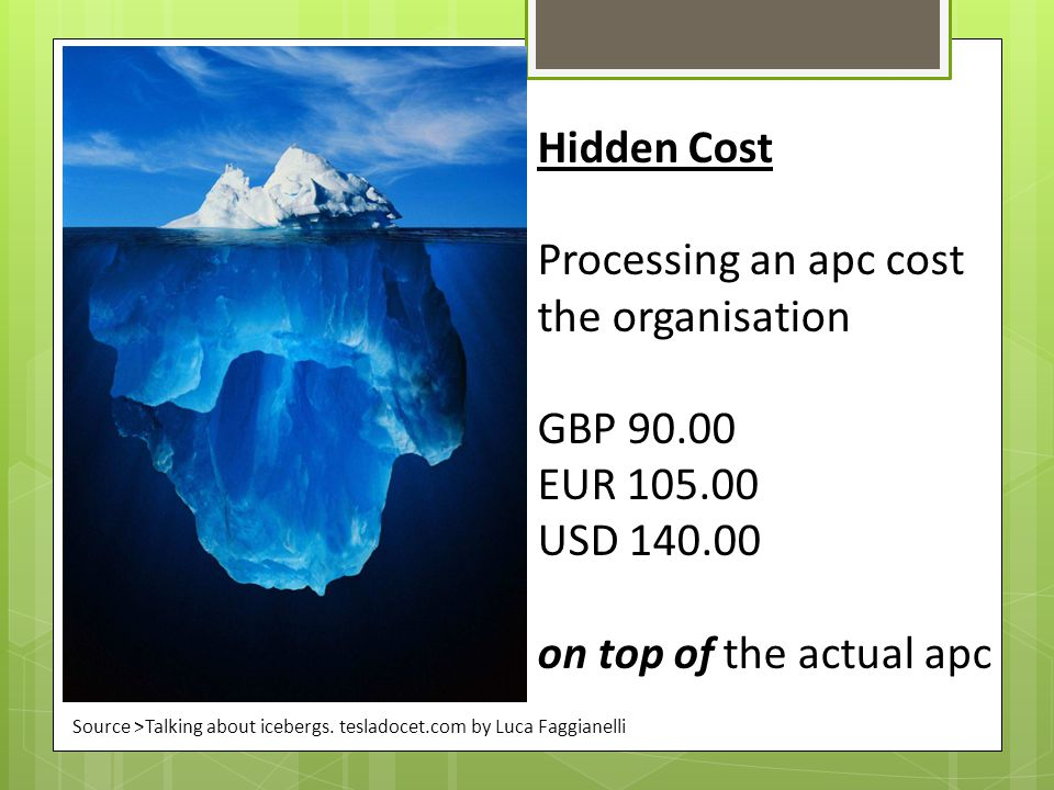 Processing an apc cost the organisation