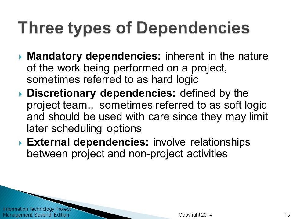 Three types of Dependencies