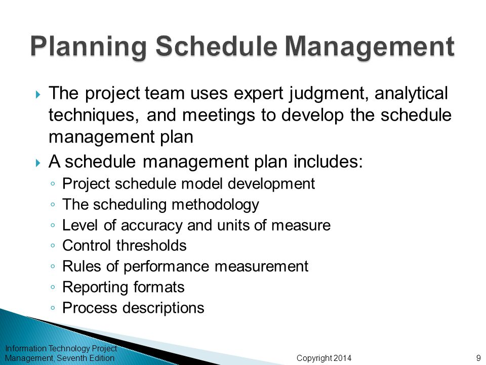 Planning Schedule Management