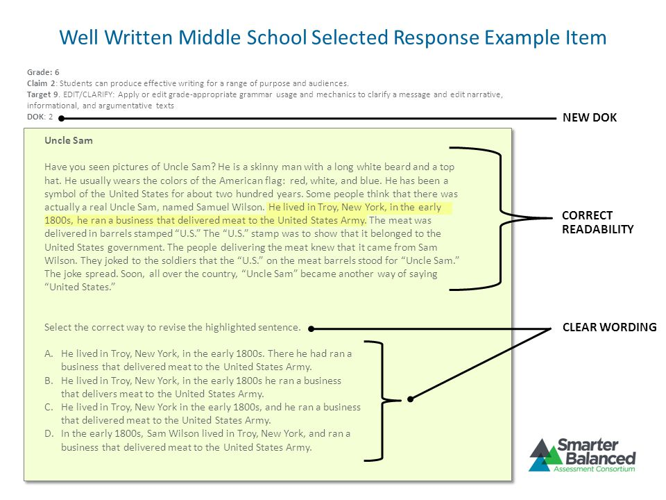 Well Written Middle School Selected Response Example Item