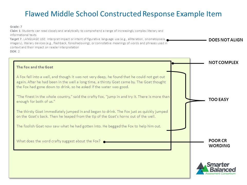 Flawed Middle School Constructed Response Example Item