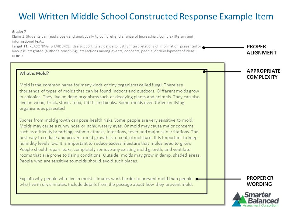 Well Written Middle School Constructed Response Example Item