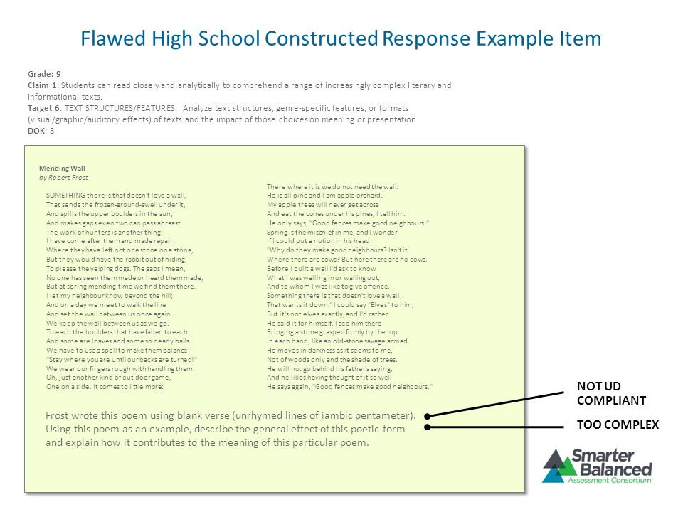 Flawed High School Constructed Response Example Item