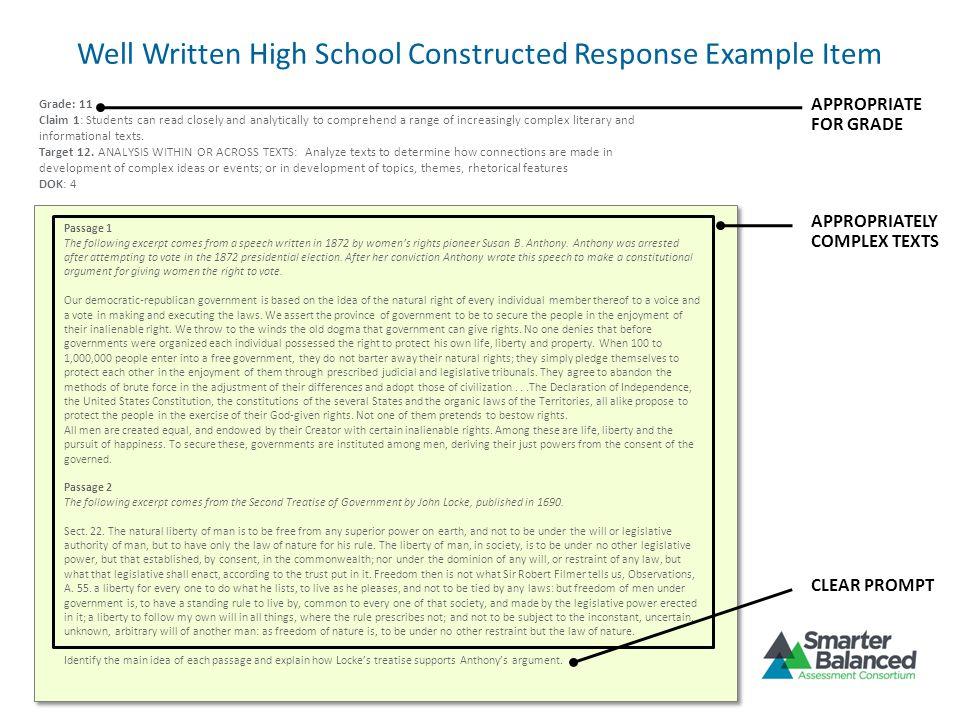 Well Written High School Constructed Response Example Item