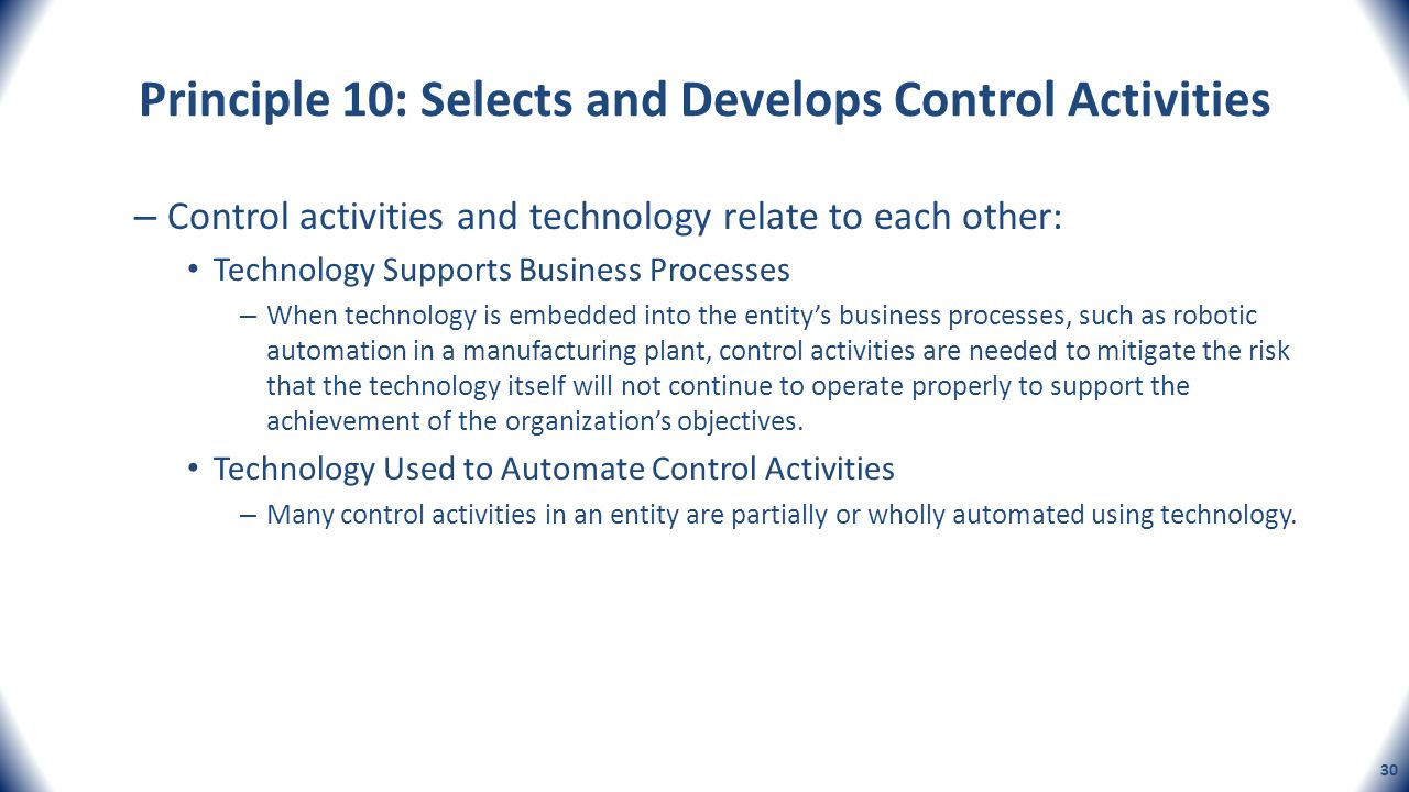 Principle 10: Selects and Develops Control Activities