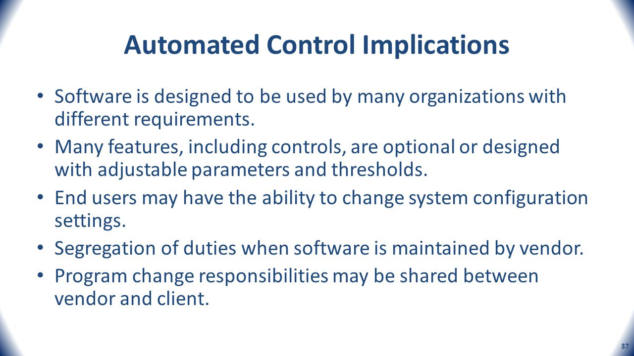 Automated Control Implications