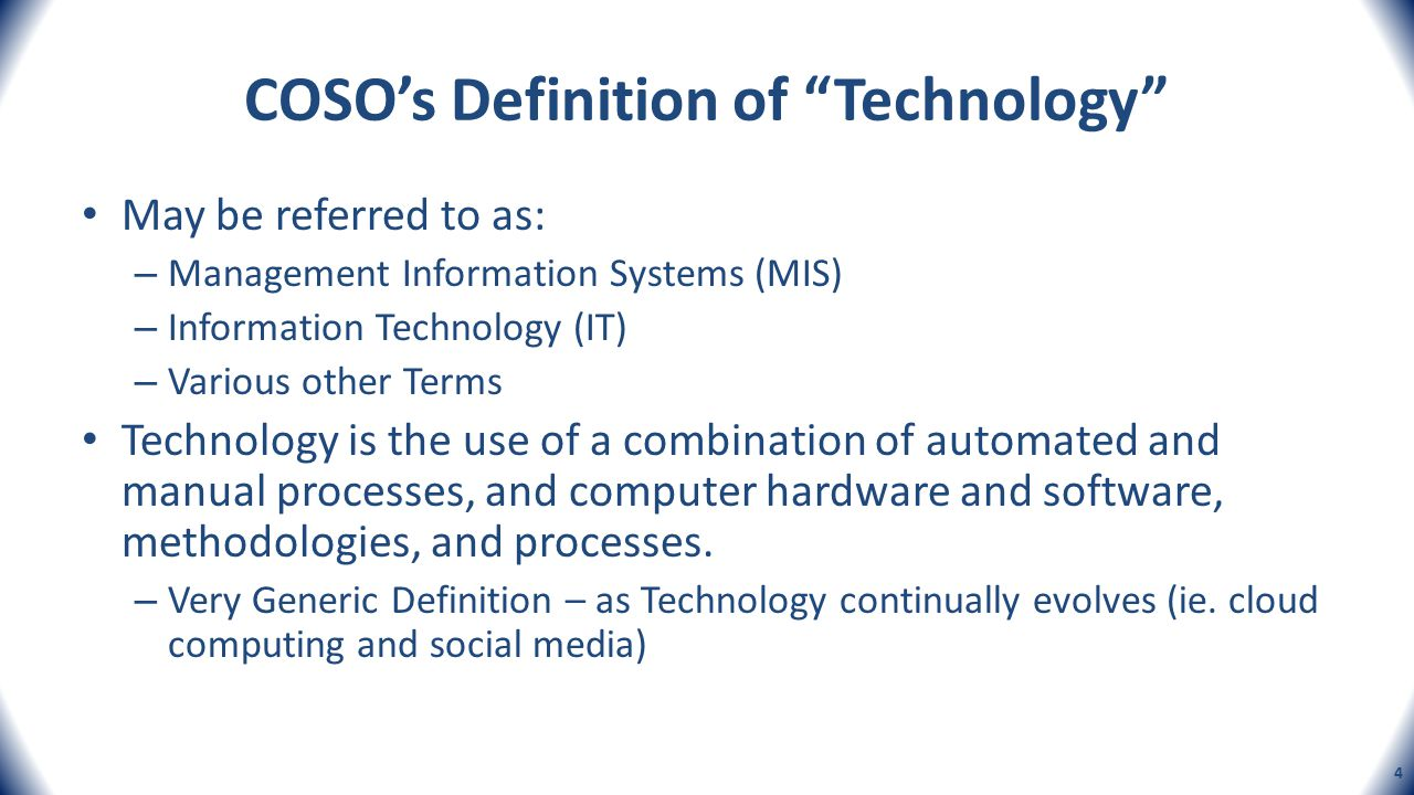 COSO's Definition of Technology