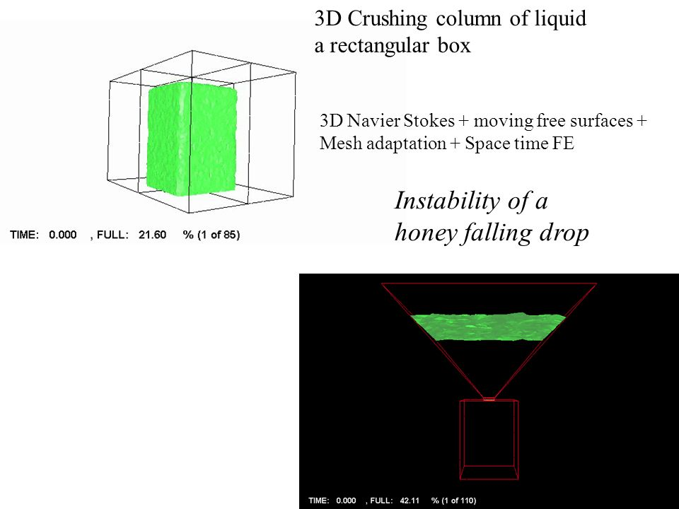 Instability of a honey falling drop 3D Crushing column of liquid
