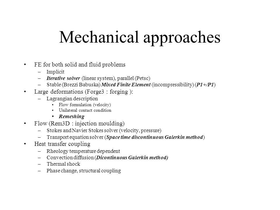 Mechanical approaches