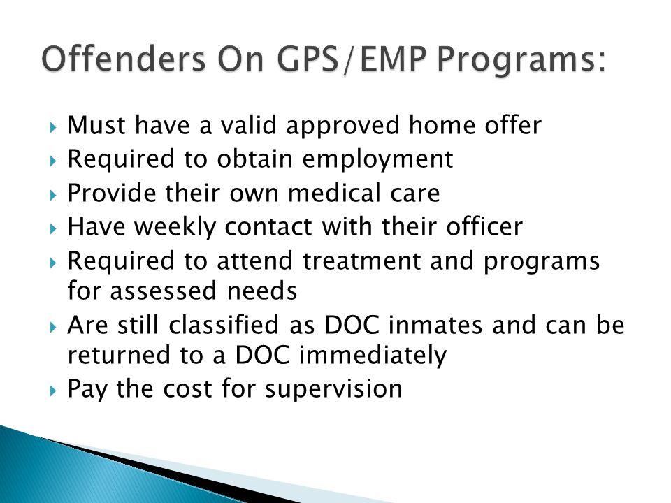 Offenders On GPS/EMP Programs: