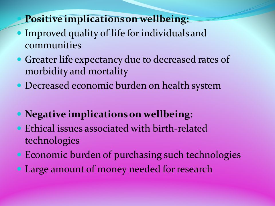 Positive implications on wellbeing: