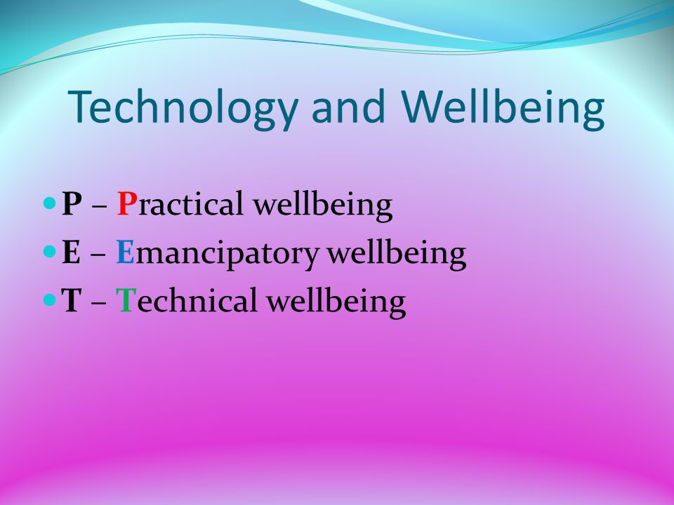 Technology and Wellbeing