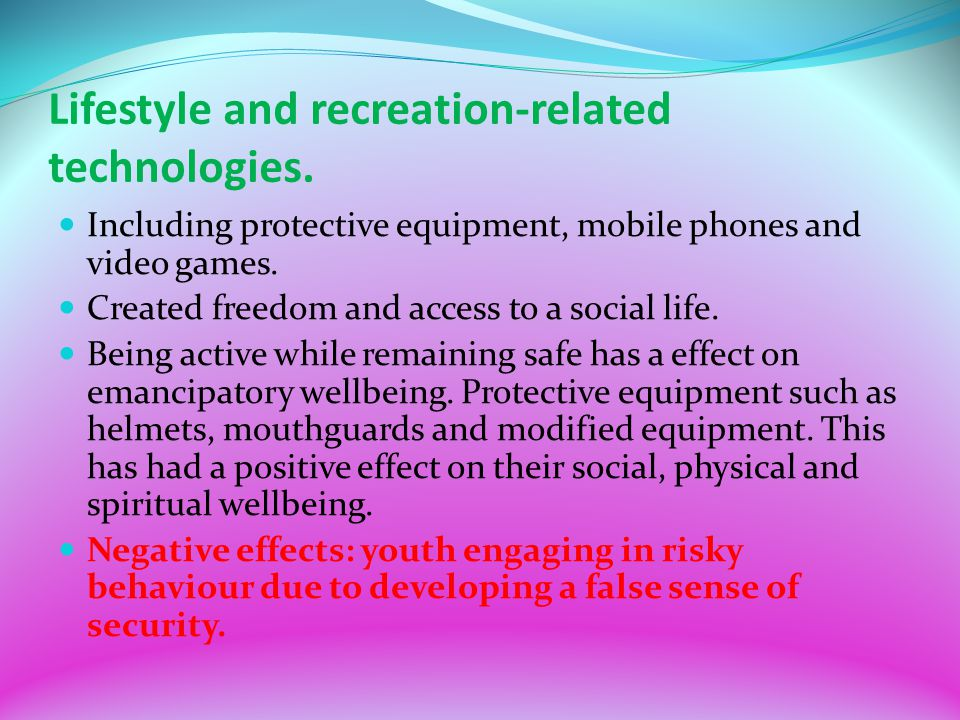 Lifestyle and recreation-related technologies.