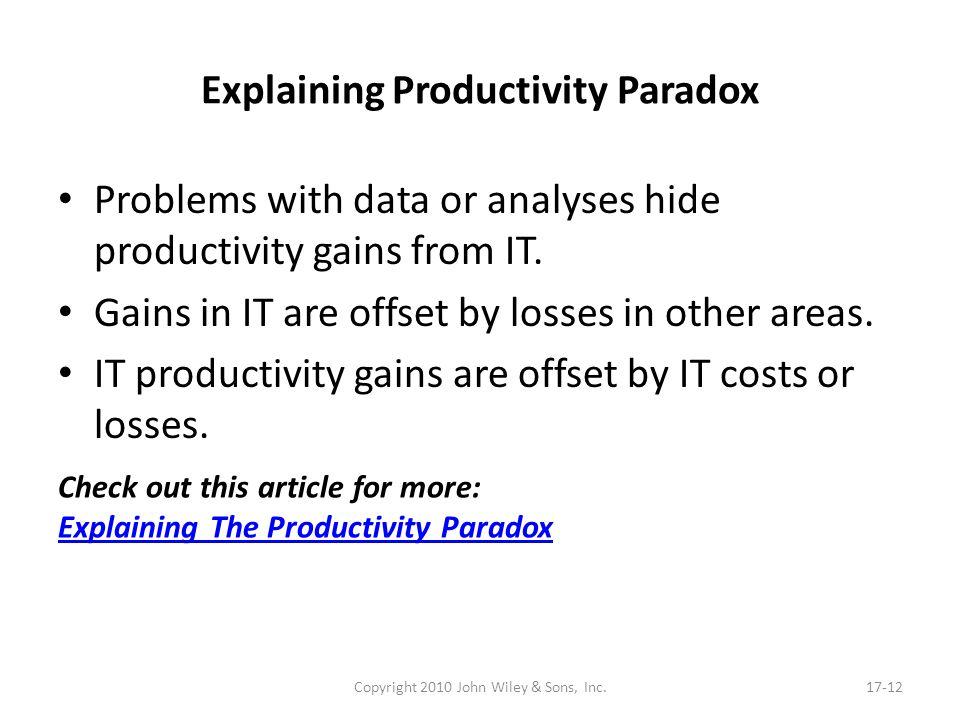 Explaining Productivity Paradox