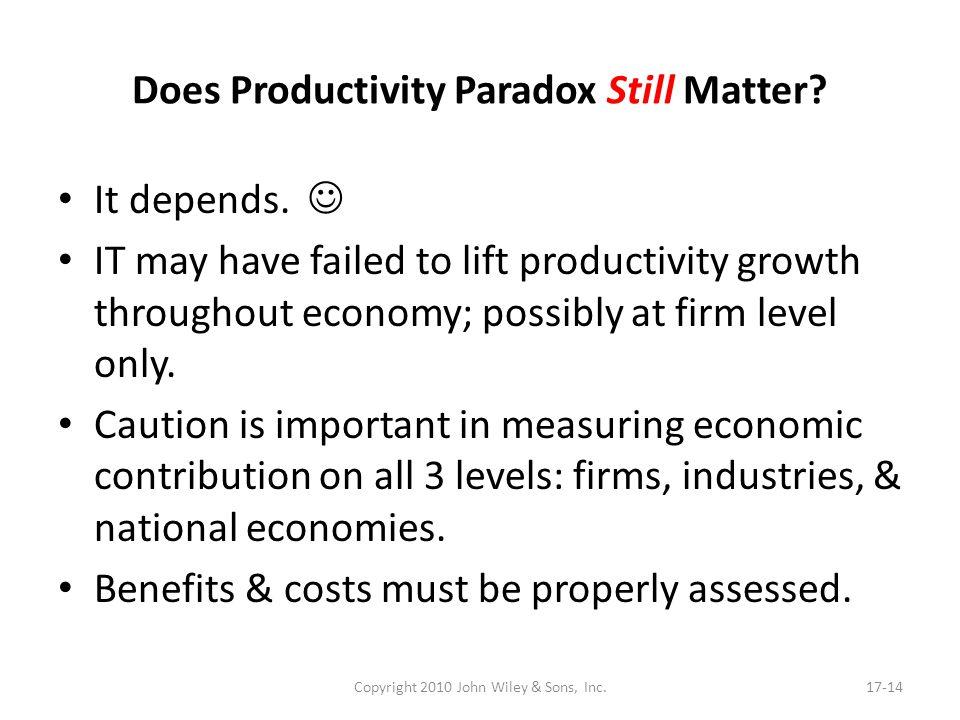 Does Productivity Paradox Still Matter