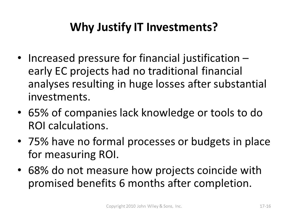 Why Justify IT Investments