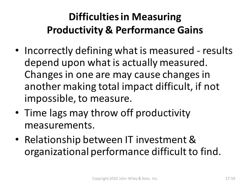 Difficulties in Measuring Productivity & Performance Gains