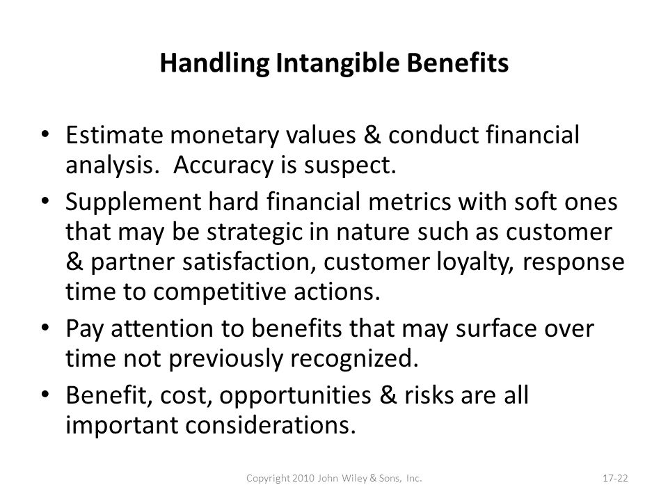 Handling Intangible Benefits