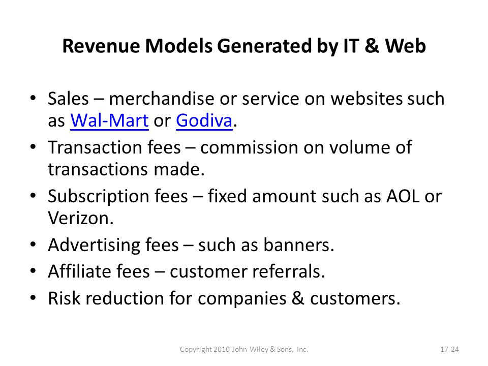 Revenue Models Generated by IT & Web