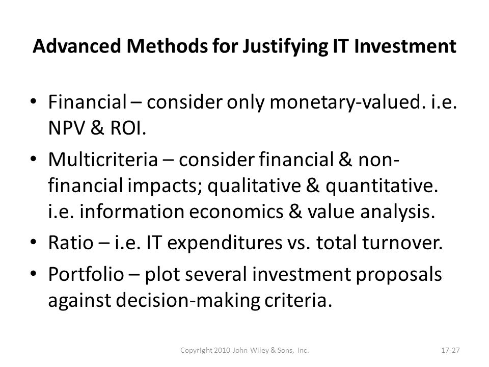 Advanced Methods for Justifying IT Investment
