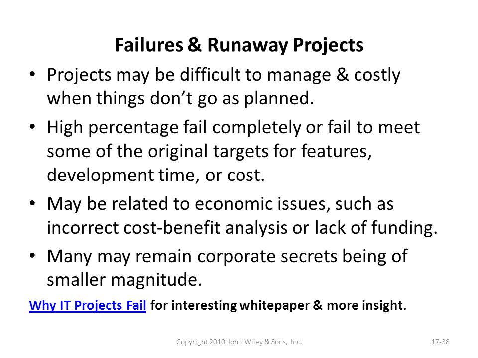 Failures & Runaway Projects