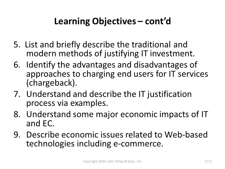 Learning Objectives – cont'd