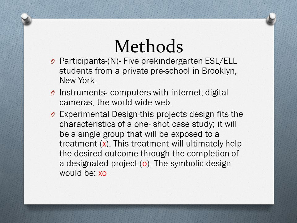 Methods Participants-(N)- Five prekindergarten ESL/ELL students from a private pre-school in Brooklyn, New York.