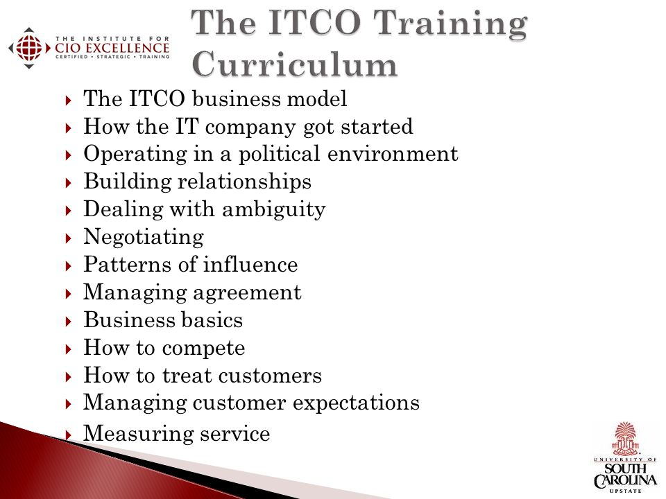 The ITCO Training Curriculum