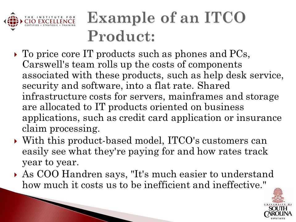 Example of an ITCO Product: