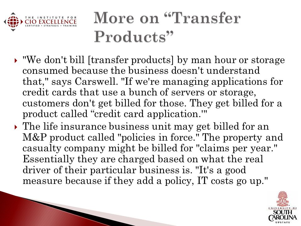 More on Transfer Products