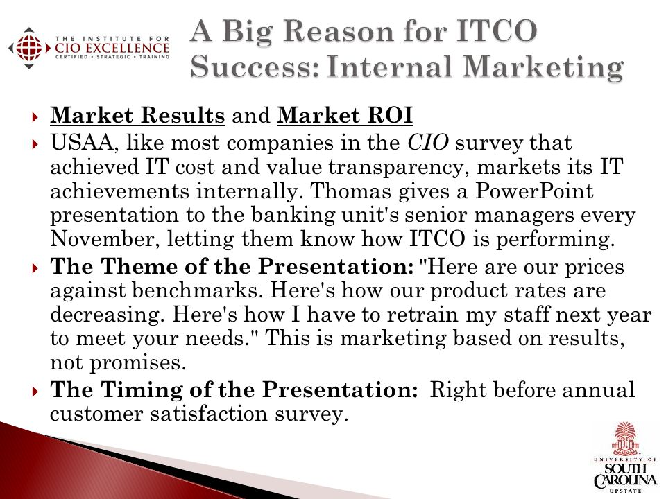 A Big Reason for ITCO Success: Internal Marketing