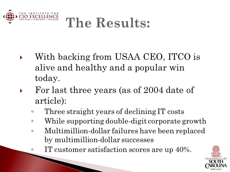 The Results: With backing from USAA CEO, ITCO is alive and healthy and a popular win today. For last three years (as of 2004 date of article):