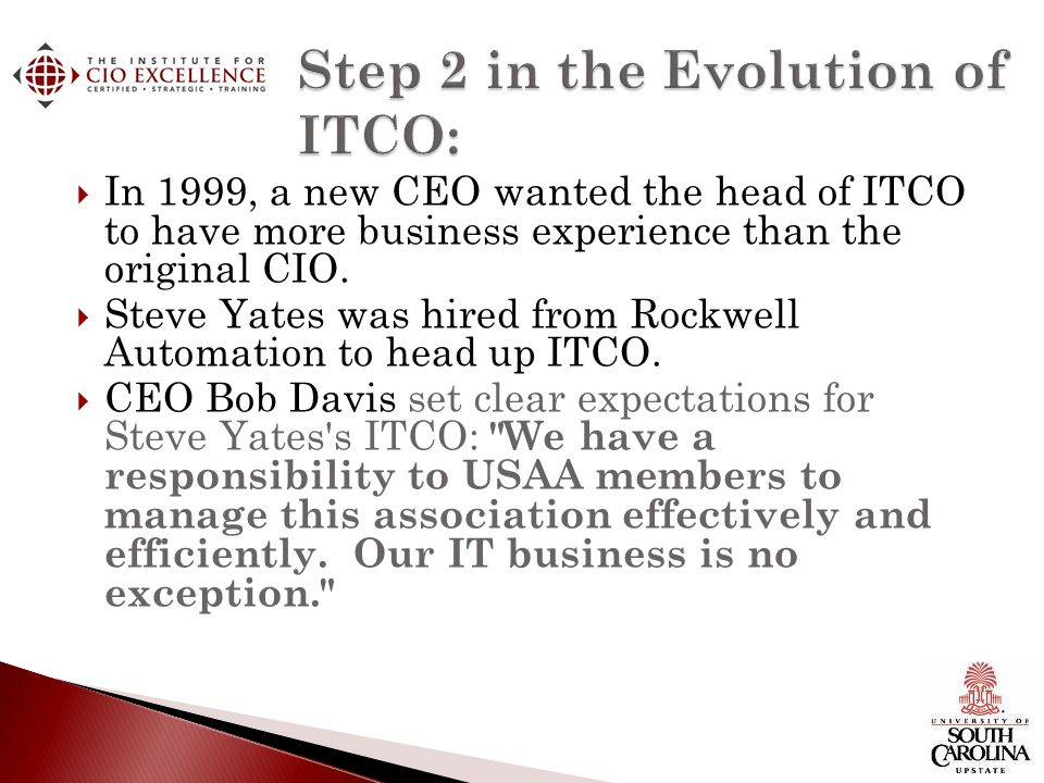 Step 2 in the Evolution of ITCO: