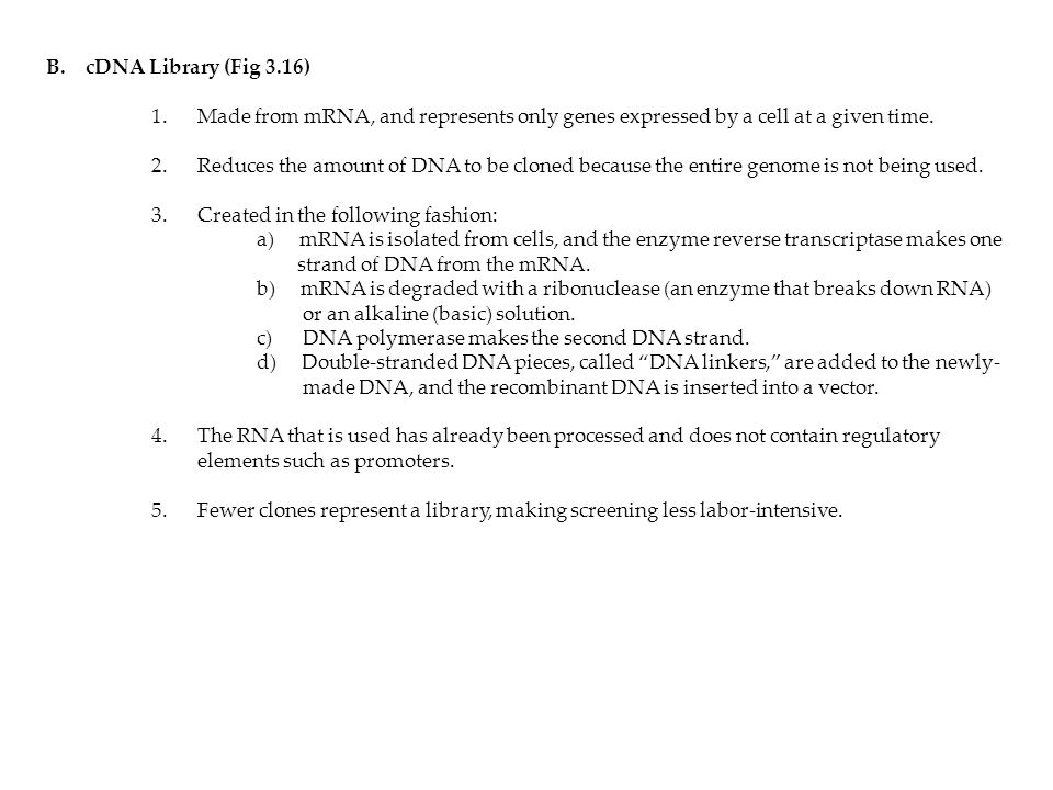 cDNA Library (Fig 3.16) 1. Made from mRNA, and represents only genes expressed by a cell at a given time.