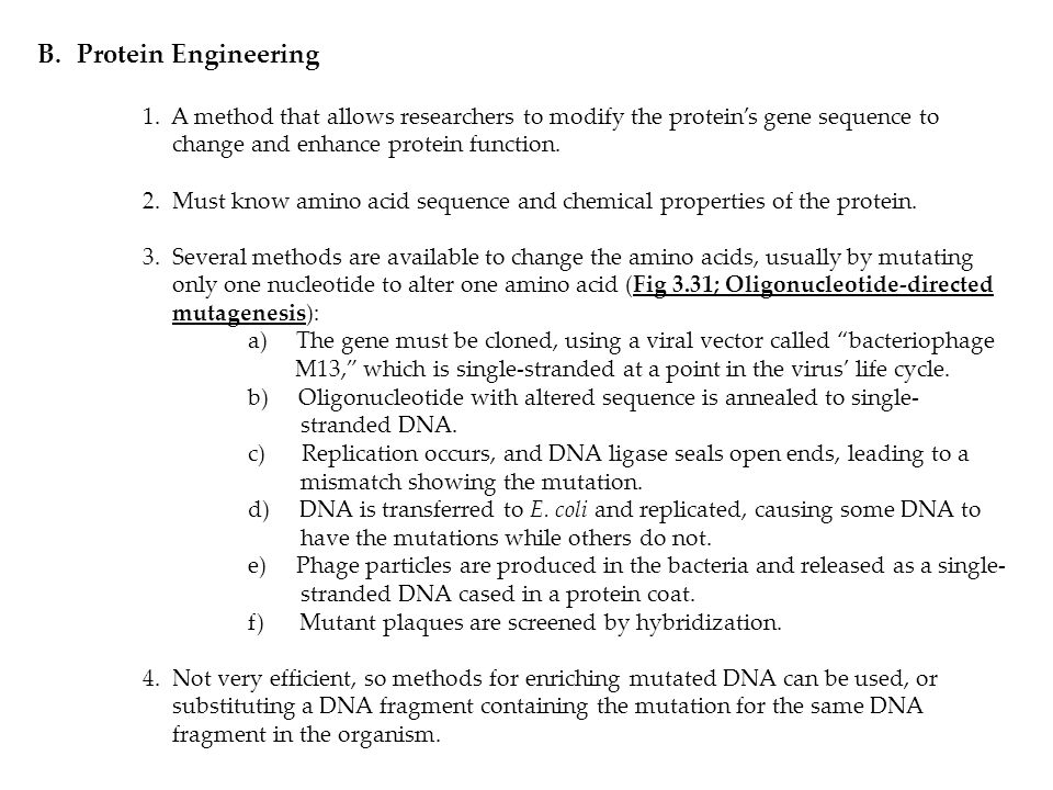 Protein Engineering 1. A method that allows researchers to modify the protein's gene sequence to change and enhance protein function.