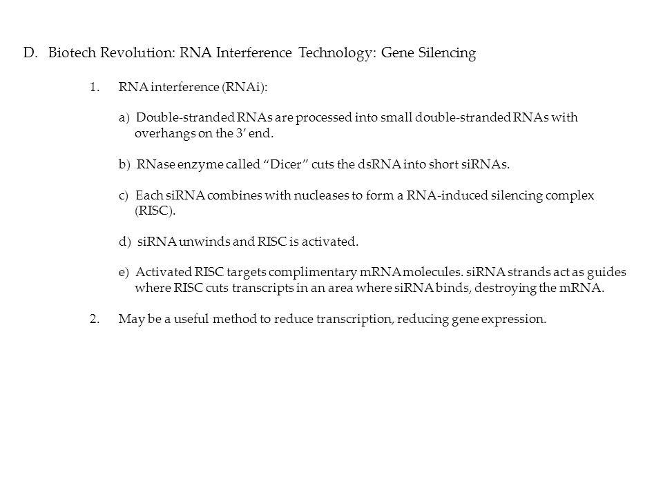 Biotech Revolution: RNA Interference Technology: Gene Silencing