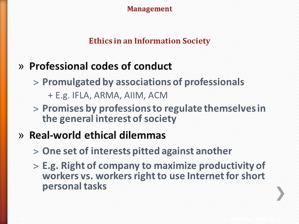 Ethics in an Information Society