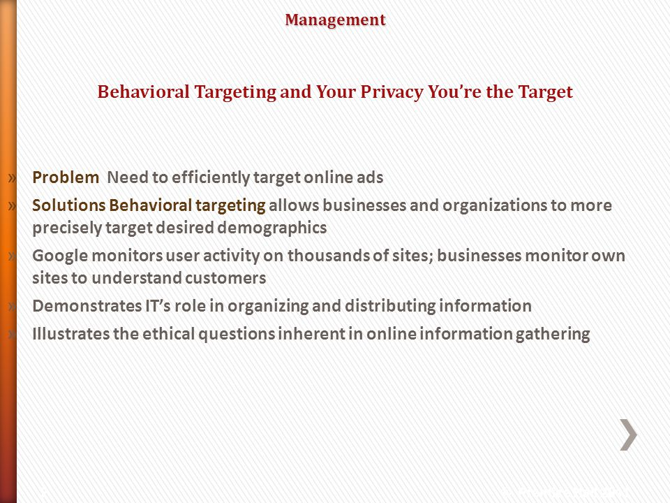Behavioral Targeting and Your Privacy You're the Target
