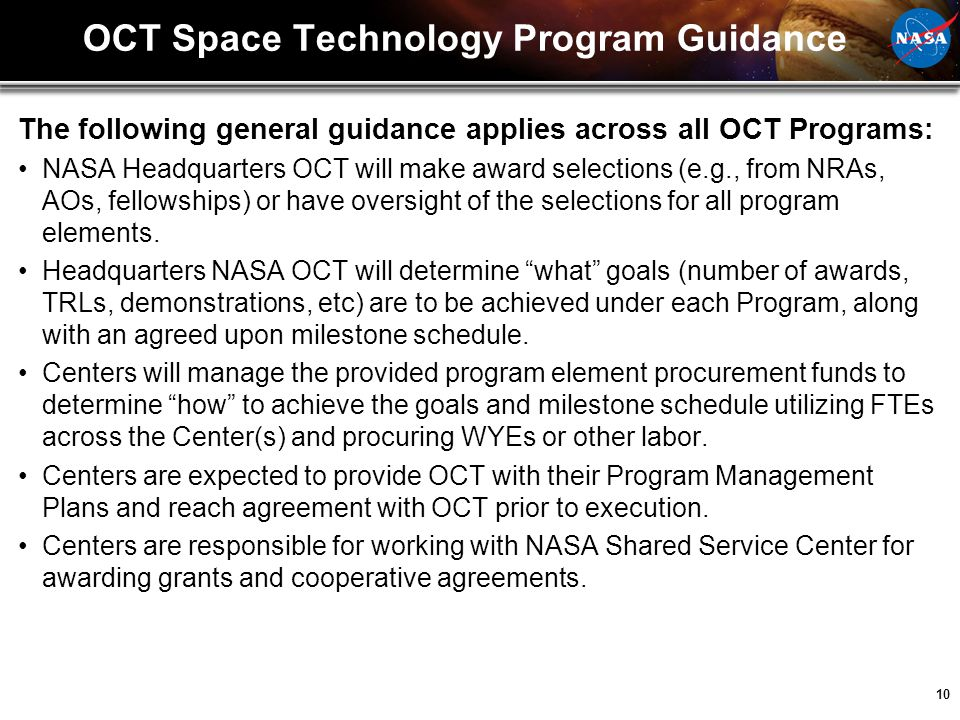 OCT Space Technology Program Guidance