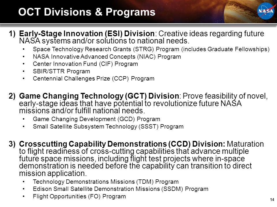 OCT Divisions & Programs