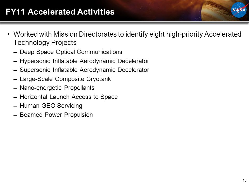 FY11 Accelerated Activities